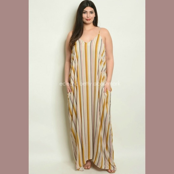 love in Dresses & Skirts - Harem Maxi Dress Plus Size Mustard Stripe